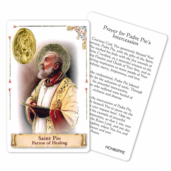 Prayer to St Padre Pio for Intercession Laminated Holy Card by Cromo
