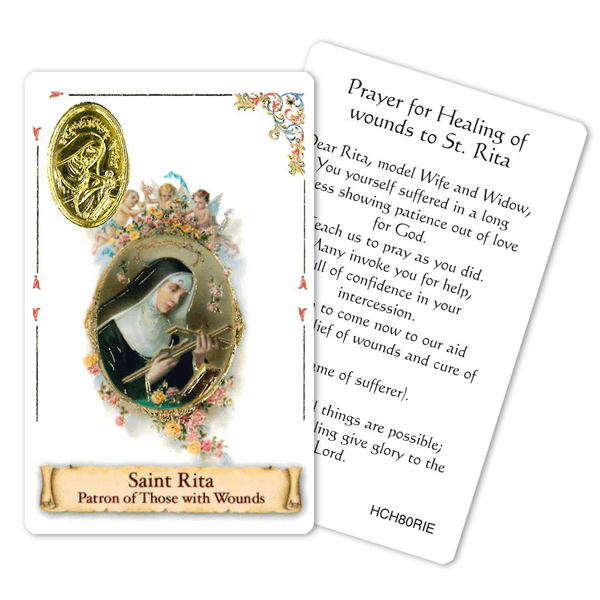Prayer to St Rita for the Healing of Wounds Laminated Holy Card by Cromo