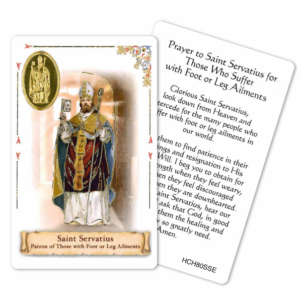 Prayer to St Servatious of those Suffering Foot and Leg Ailments Holy Card by Cromo