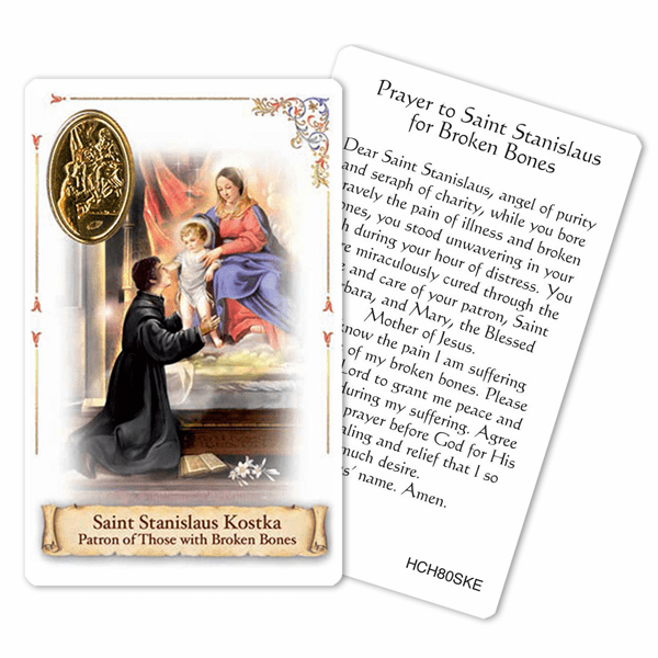 Prayer to St Stanislaus for Broken Bones Laminated Holy Card by Cromo