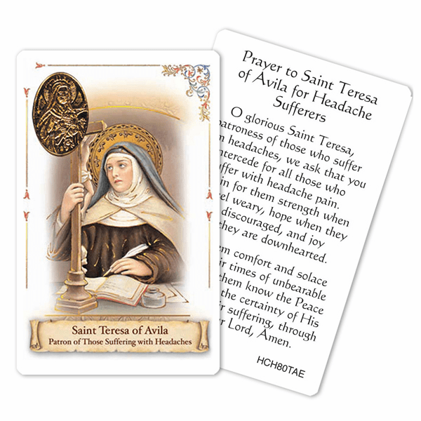 Prayer to St Teresa of Avila for Headache Sufferers Holy Card by Cromo