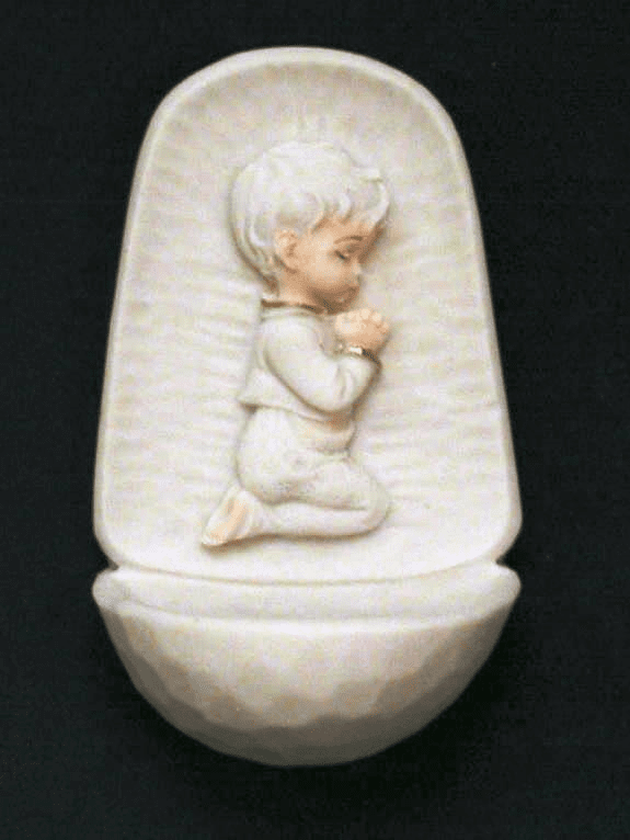 Praying Boy White Alabaster Holy Water Font