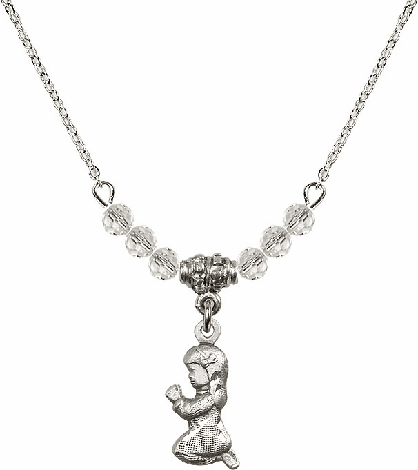 Praying Girl Charm w/Crystal Beads Necklace by Bliss Mfg
