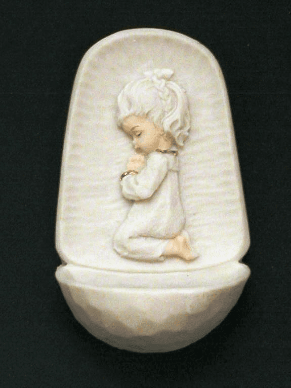 Praying Girl White Alabaster Holy Water Font