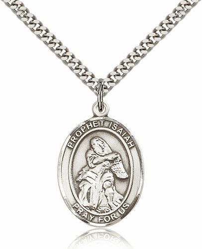 Prophet Isaiah Patron Sterling Silver Saint Medal Necklace by Bliss Mfg