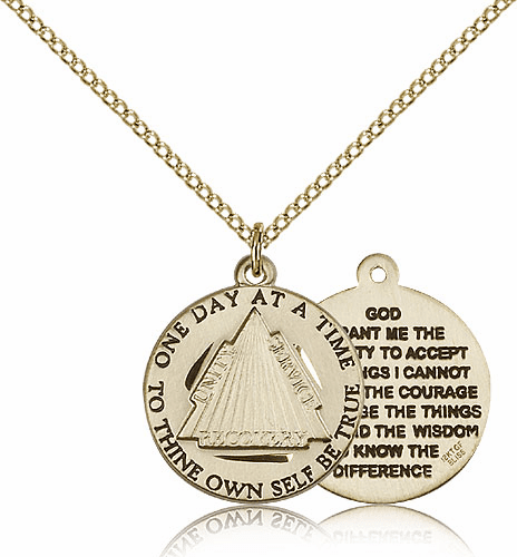 Recovery Serenity Prayer 14kt Gold-filled Medal Necklace with Chain by Bliss