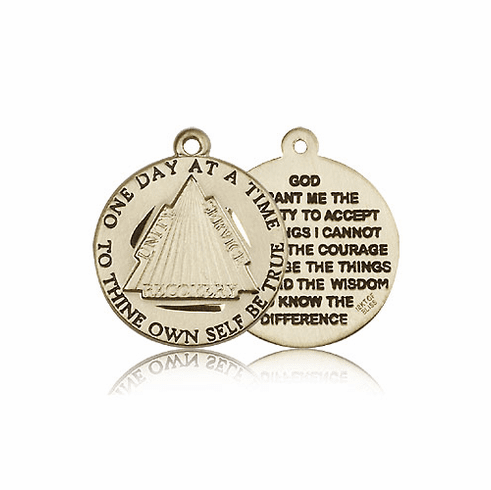 Recovery Serenity Prayer 14kt Solid Gold Medal Pendant by Bliss