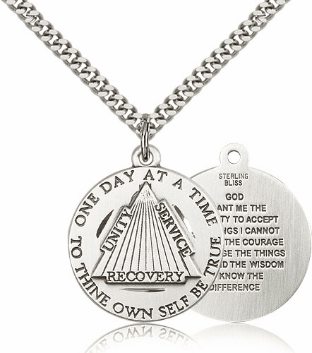 Recovery Serenity Prayer Pewter Medal Necklace with Chain by Bliss
