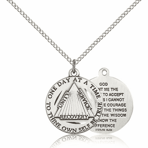 Recovery Serenity Prayer Sterling Silver Medal Necklace with Chain by Bliss