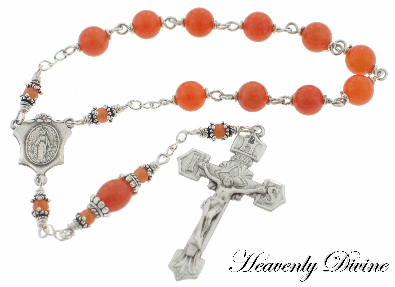 Red Aventurine Sterling Silver Wire-Wrapped Rosary by Heavenly Divine