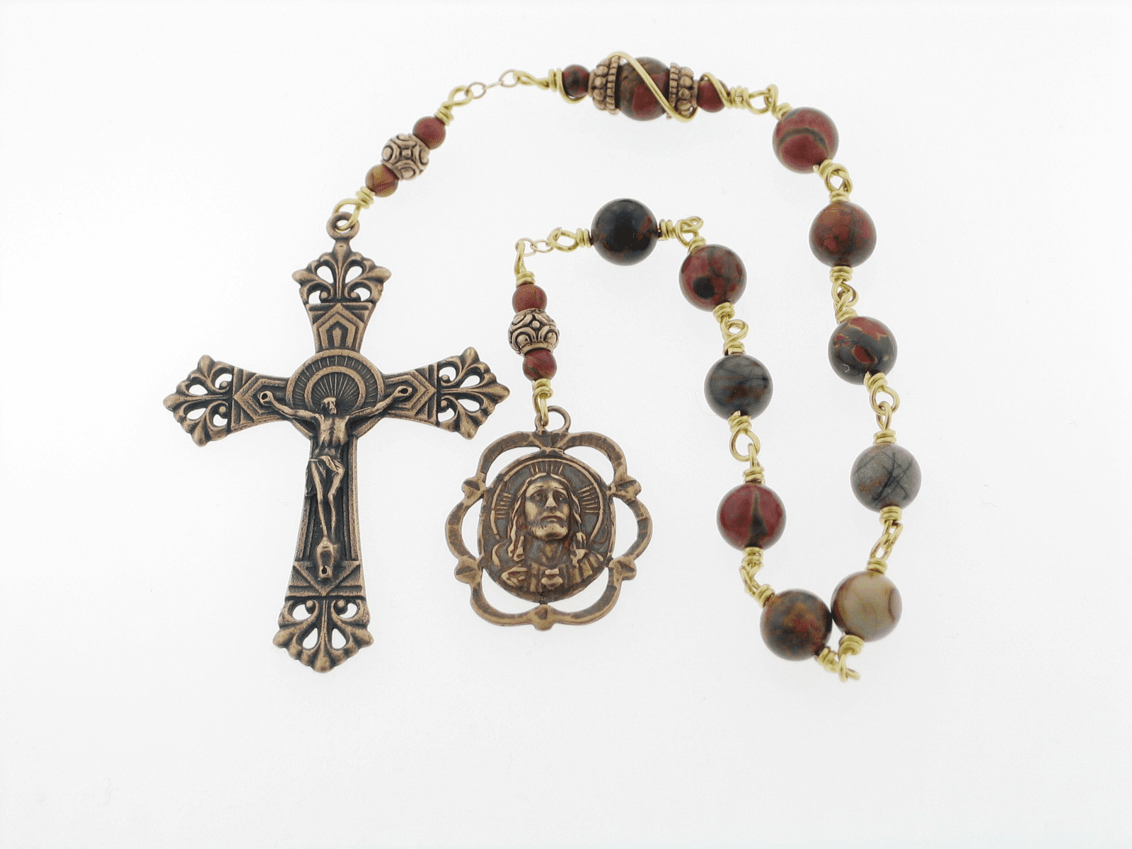Red Creek Jasper Bronze Jesus with the Infant of Prague Pocket Rosary by Heavenly Divine