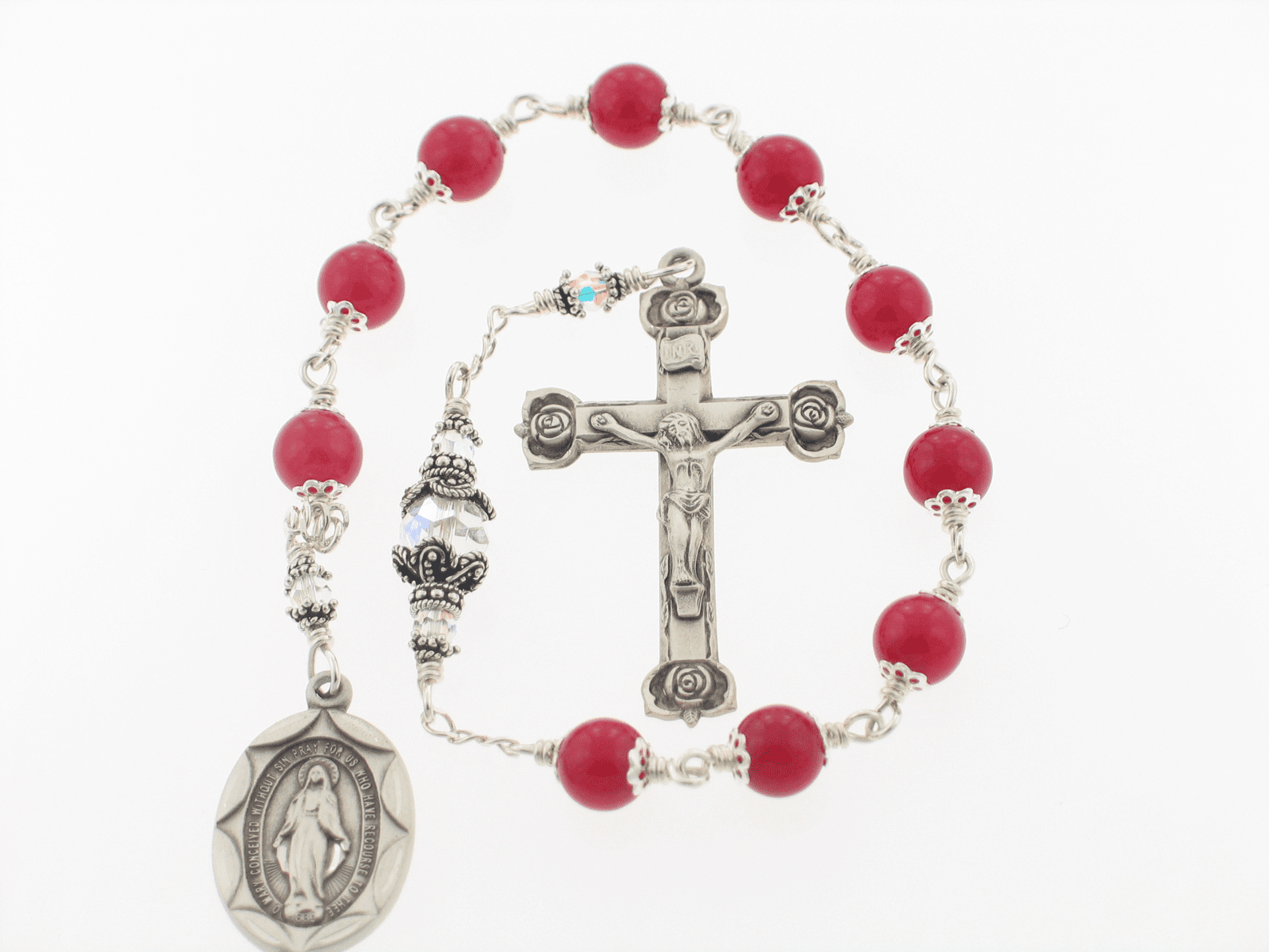 Red Jade Sterling Silver Wire Wrapped Pocket Rosary with Rose Crucifix and Miraculous Medal