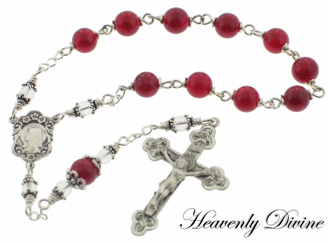 Heavenly Divine Red Quartz Sterling Silver Wire Wrapped Pocket Rosary