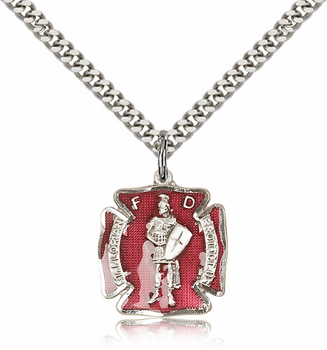 Red St Florian Sterling Silver Pendant Necklace by Bliss Mfg