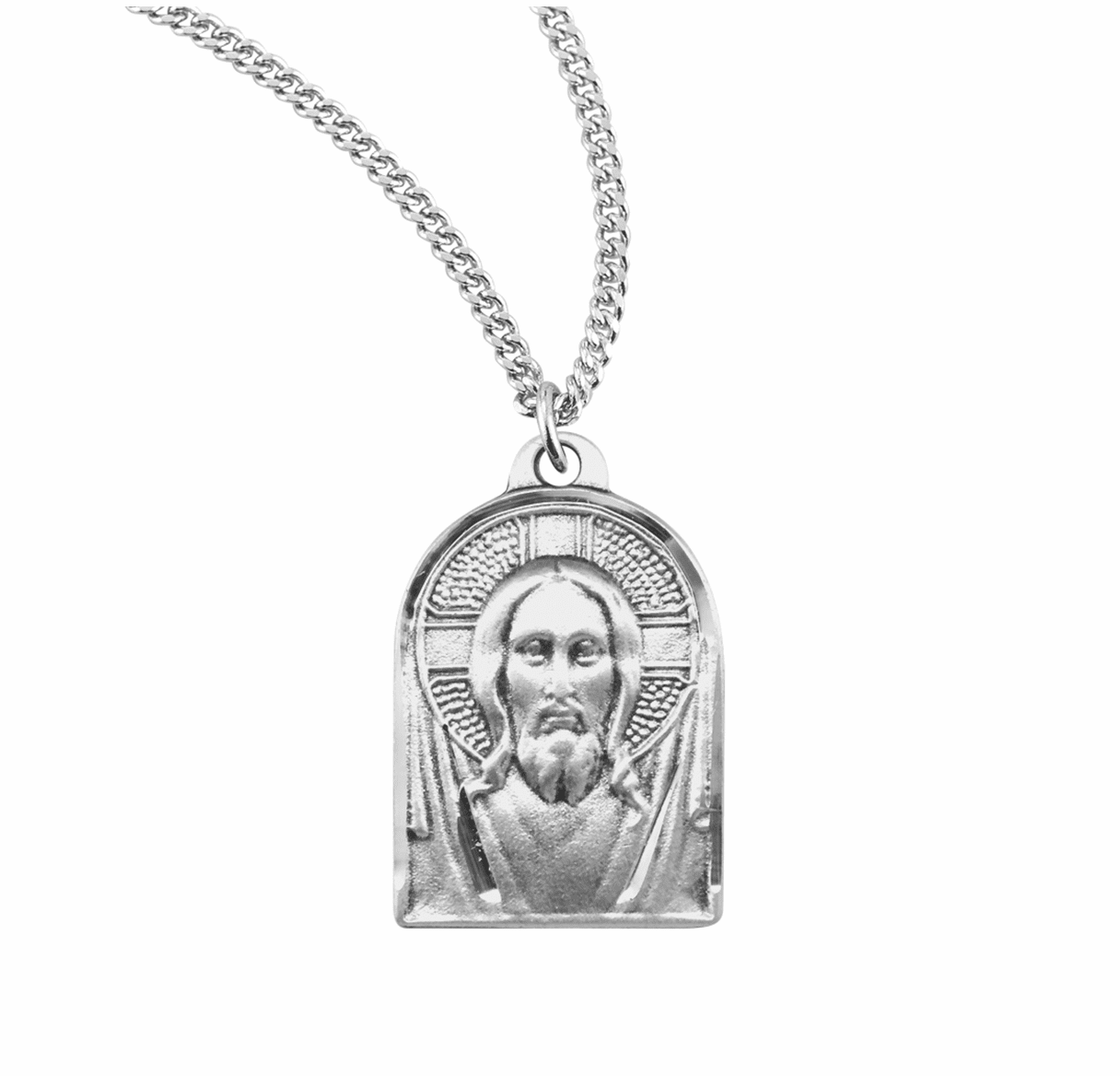 Renaissance Jesus Sterling Silver Medal Necklace by HMH Religious