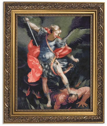 Reni Saint Michael Framed Print Picture with Gold Frame by Gerffert