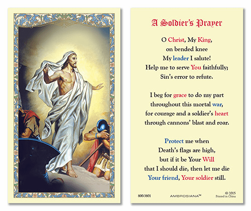 Resurrected Christ Soldier's Prayer Laminated Gerffert 25pkg Holy Cards