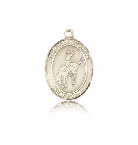 Rodeo St Christopher 14kt Gold Patron Saint Medal by Bliss