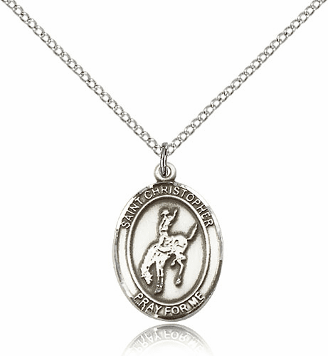 Rodeo St Christopher Sterling Silver Saint Necklace by Bliss