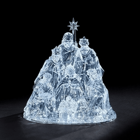 Roman 15in Christmas Nativity with Holy Family Acrylic LED Figure