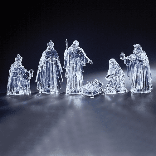 Roman 6pc Christmas Nativity Set Acrylic LED Figure