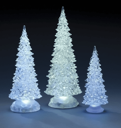 Roman Acrylic LED 3pc Christmas Tree Set