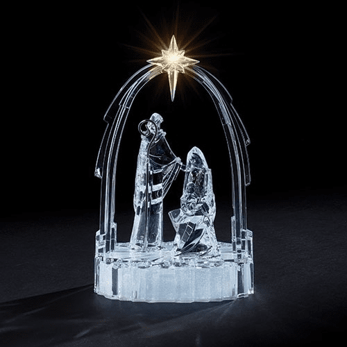 Roman Christmas Nativity with Holy Family and Arch Acrylic LED Figure
