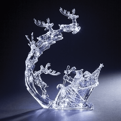 Roman Christmas Santa in the Sky with Reindeer Acrylic LED Figure