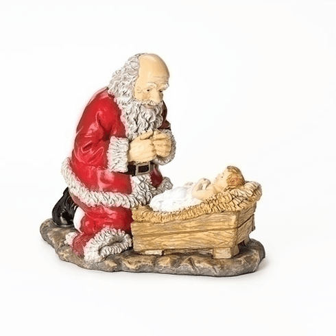 "Roman Resin 12""H Kneeling Santa with Baby Jesus Figure Statue"