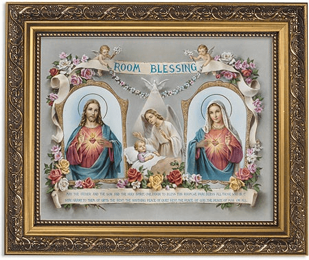 Room Blessing w/the Sacred Hearts Framed Print Picture with Gold Frame by Gerffert
