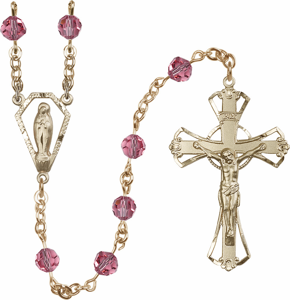 Rose 6mm AB Swarovski 14kt Gold Praying Madonna Catholic Rosary by Bliss
