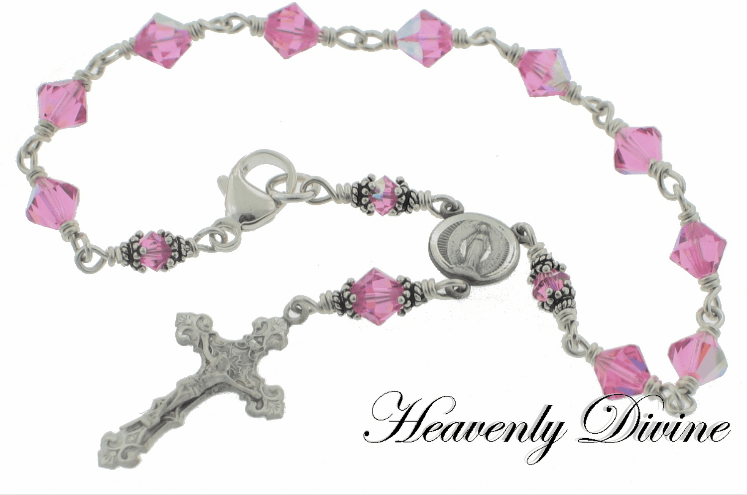 Rose Swarovski Crystal Wire Wrapped Sterling Silver Rosary Bracelet by Heavenly Divine