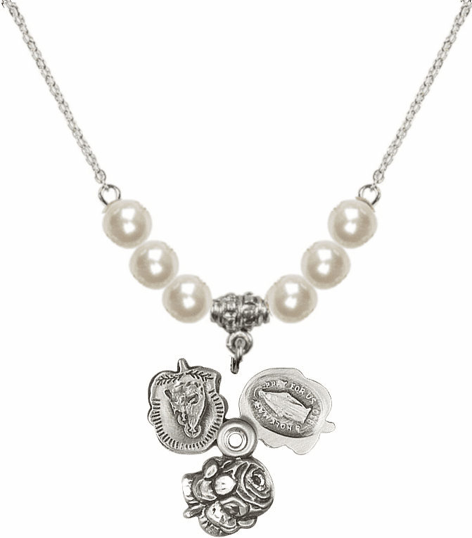 Rosebud Miraculous Sterling Silver Slider Medal Sterling 6mm Faux Pearls Necklace by Bliss Mfg