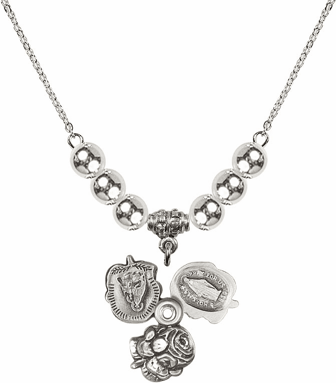 Rosebud Miraculous Sterling Silver Slider Medal Sterling Charm w/6mm Silver Beaded Necklace by Bliss Mfg