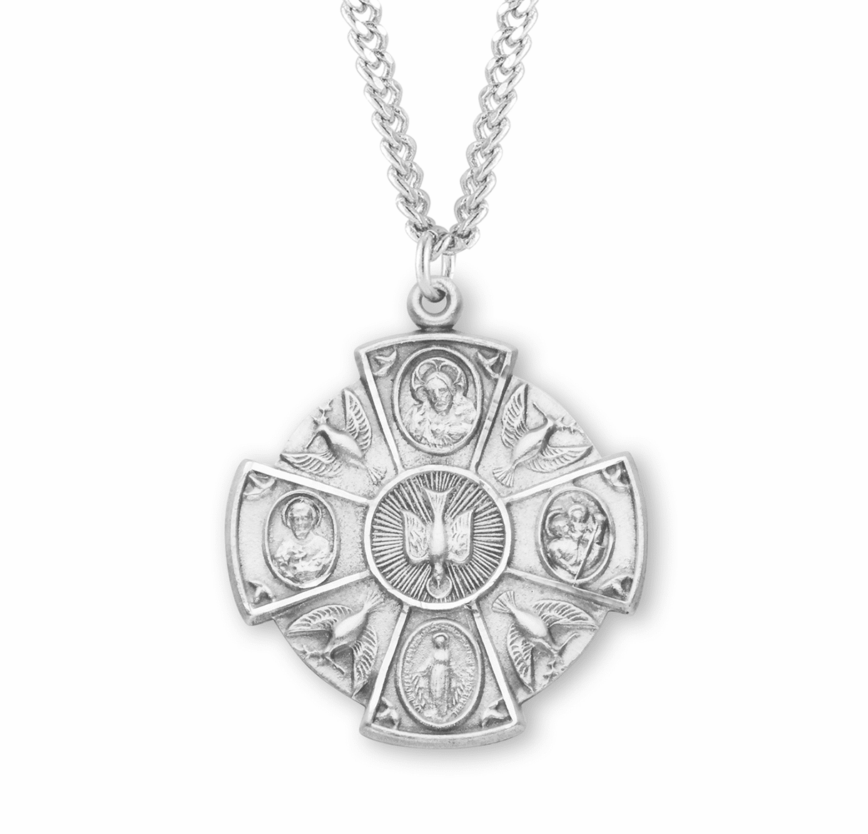 Round 4-Way Sterling Silver Cross w/Doves Medal Necklace by HMH Religious
