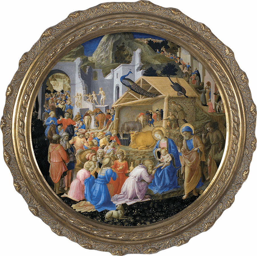 Round Adoration of the Magi Canvas Wall Art Picture by Nelson
