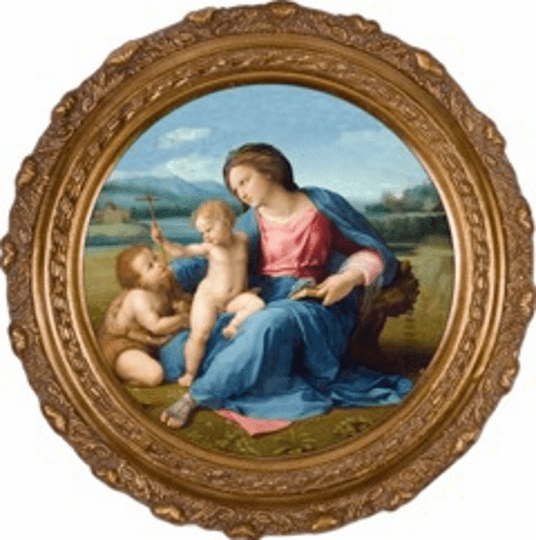 Round Alba Madonna Canvas Wall Art Picture by Nelson