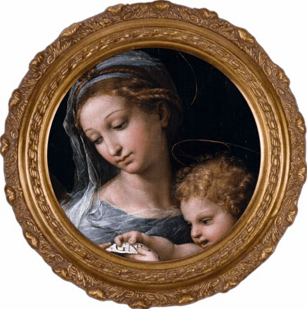 Round Detailed Madonna della Rosa Canvas Framed Art by Nelson