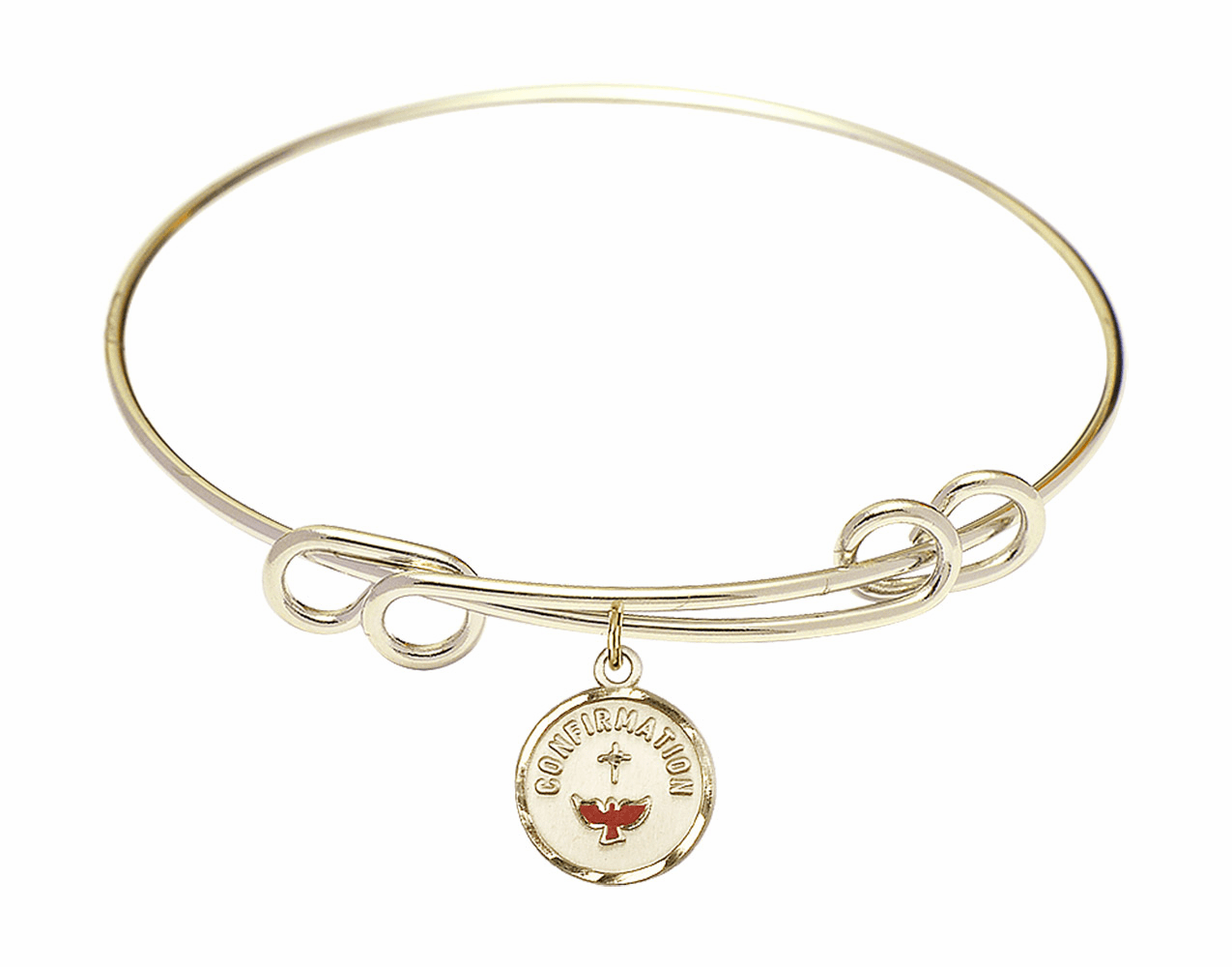 Round Double Loop Bangle Bracelet Red Confirmation 14kt Gold-filled Charm by Bliss Mfg