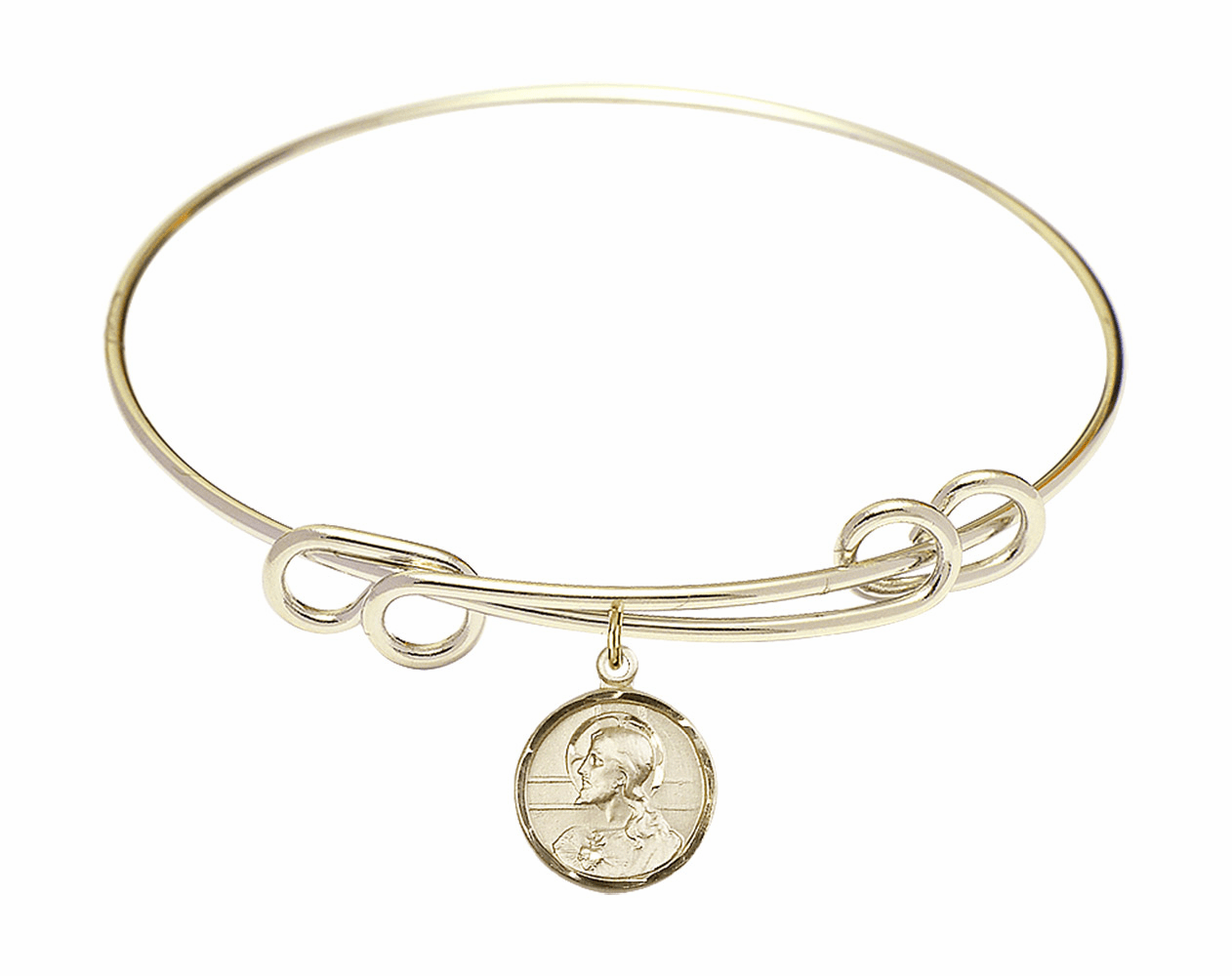 Round Double Loop Bangle Bracelet Scapular 14kt Gold-filled Charm by Bliss Mfg