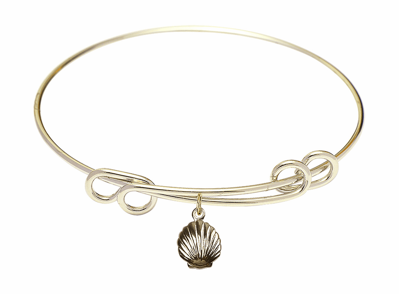 Round Double Loop Bangle Bracelet w/Baptism Shell Charm by Bliss Mfg