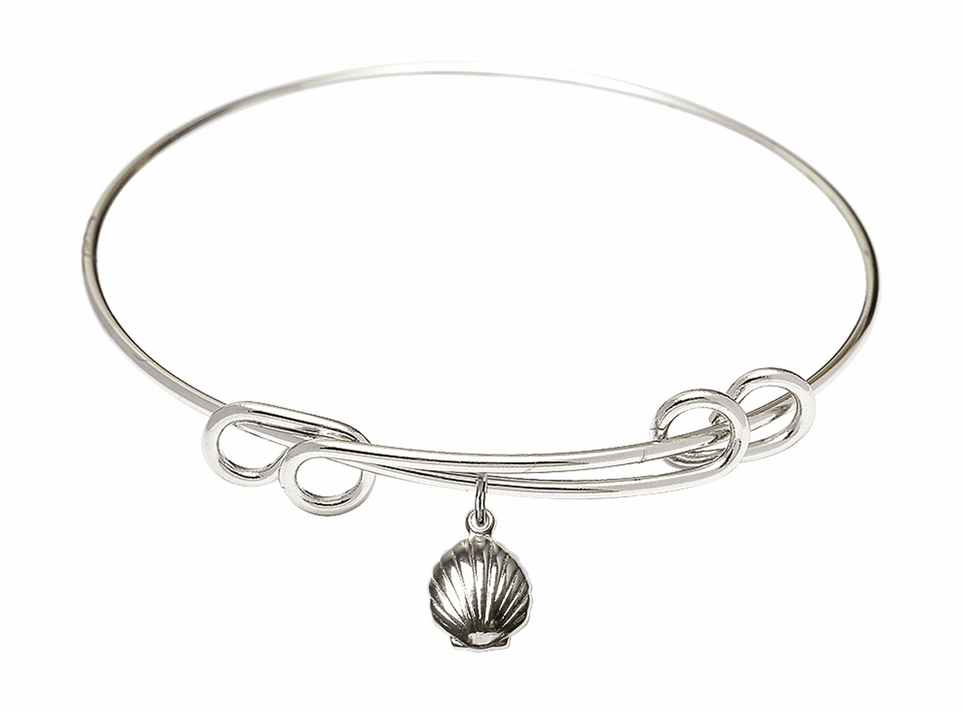 Round Double Loop Bangle Bracelet w/Baptism Shell Sterling Silver Charm by Bliss Mfg