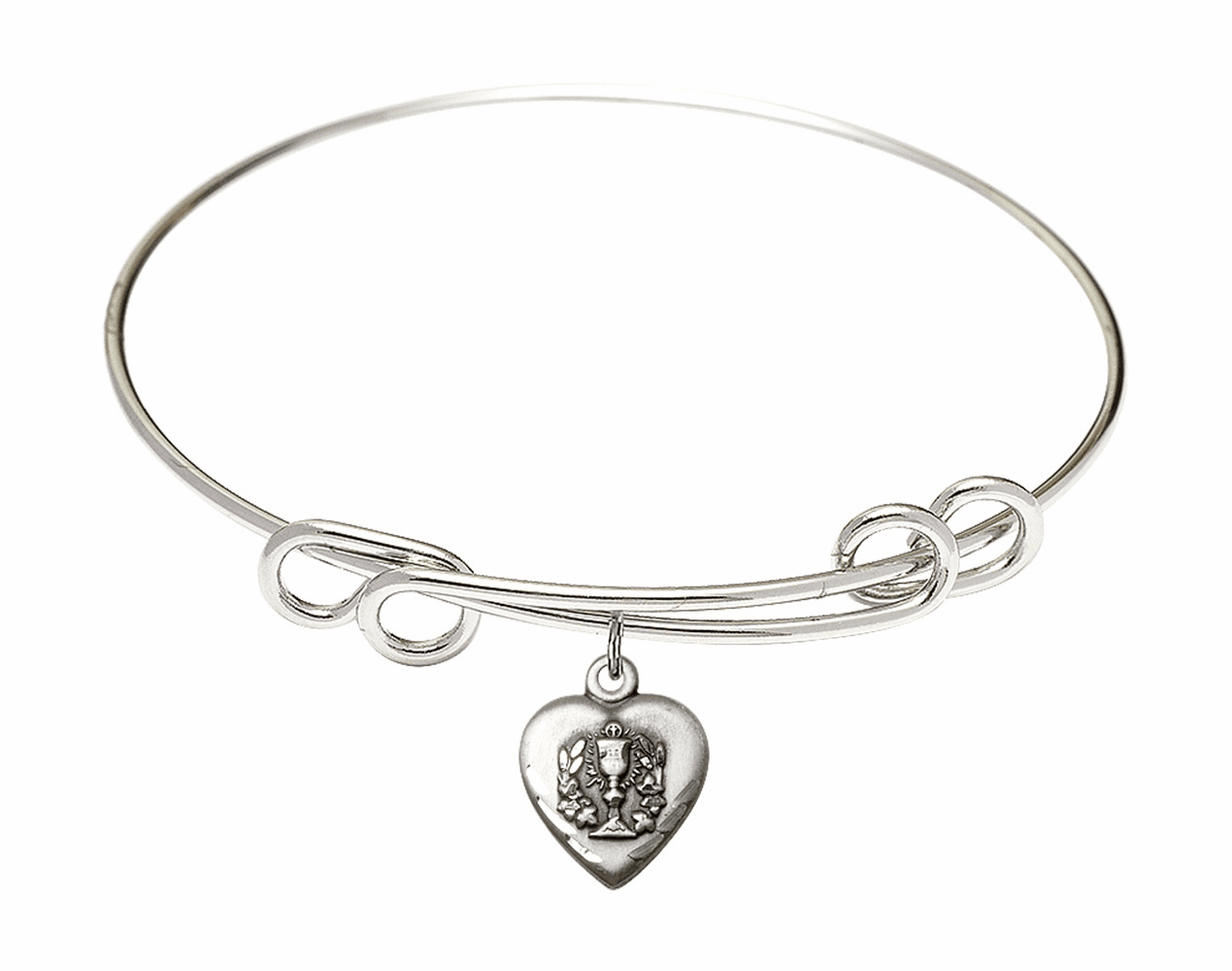 Round Double Loop Bangle Bracelet w/Communion Heart Sterling Silver Charm by Bliss Mfg