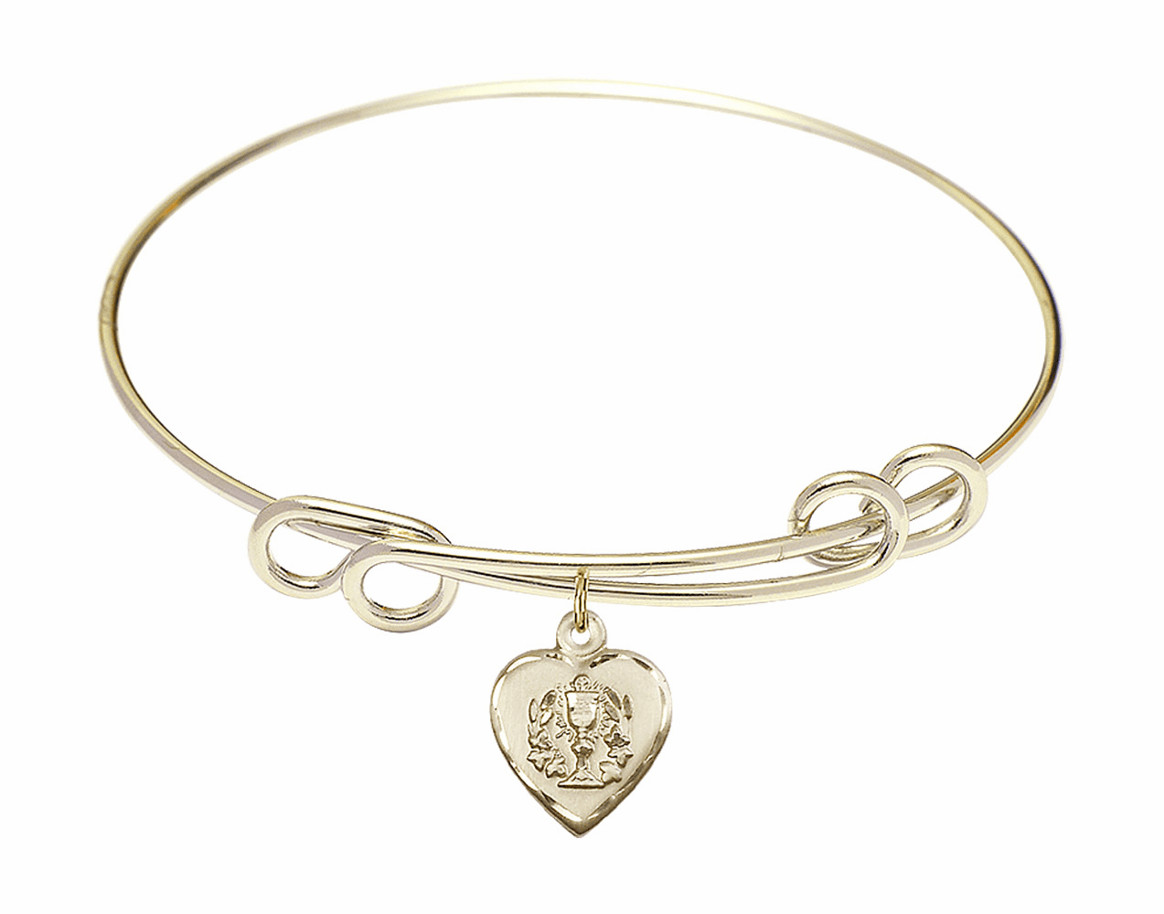 Round Double Loop Bangle Bracelet w/Confirmation Heart Charm by Bliss Mfg