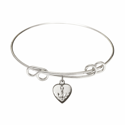 Round Double Loop Bangle Bracelet w/Confirmation Heart Sterling Silver Charm by Bliss Mfg