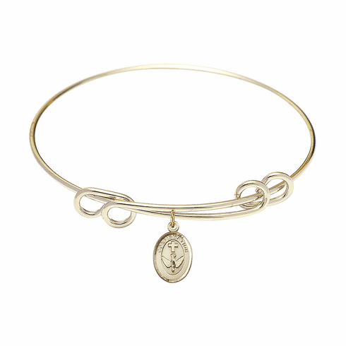 Round Double Loop Bangle Bracelet w/Confirmation Holy Spirit Charm by Bliss Mfg