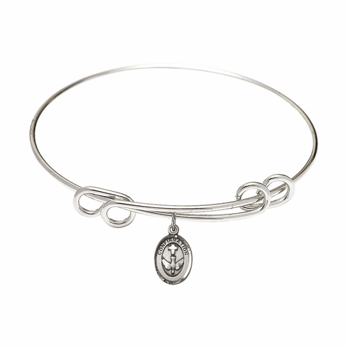 Round Double Loop Bangle Bracelet w/Confirmation Holy Spirit Sterling Silver Charm by Bliss Mfg
