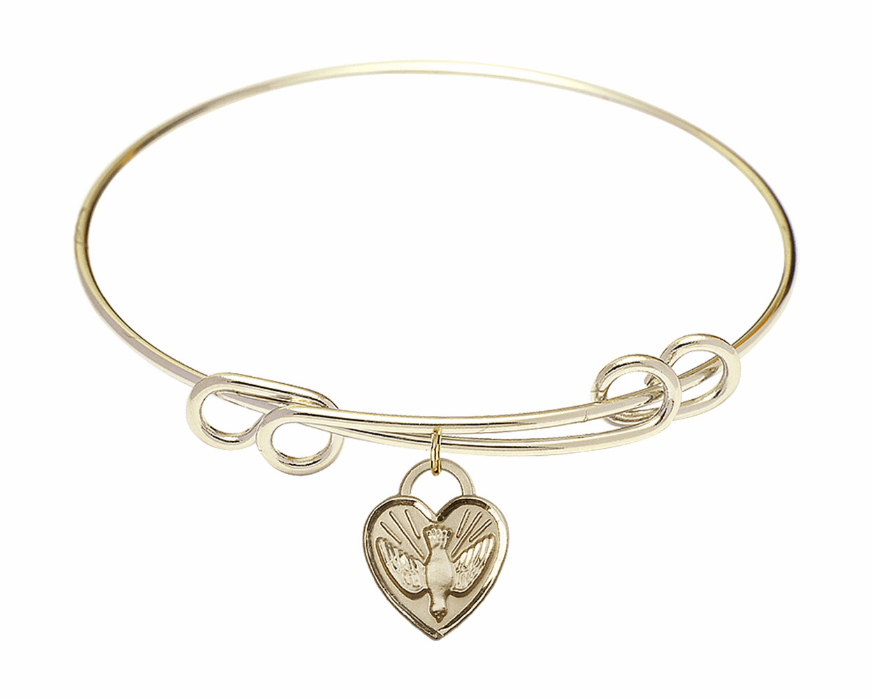Round Double Loop Bangle Bracelet w/Dove Confirmation Heart Charm by Bliss Mfg