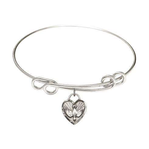Round Double Loop Bangle Bracelet w/Dove Confirmation Heart Sterling Silver Charm by Bliss Mfg