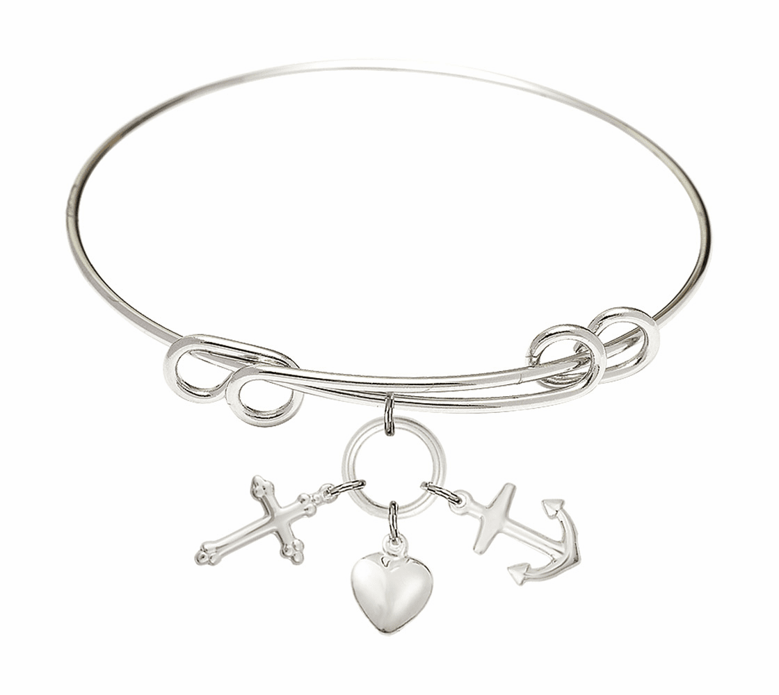 Round Double Loop Bangle Bracelet w/Faith, Hope & Charity Sterling Silver Charm by Bliss Mfg